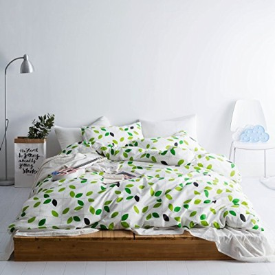 (King, Color 12) - SUSYBAO 3 Pieces Duvet Cover Set 100% Natural Cotton King Size White and Green...