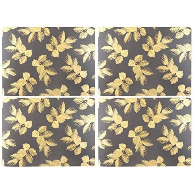 Portmeirion Etched Leaves–プレースマットのセット4ダークグレー