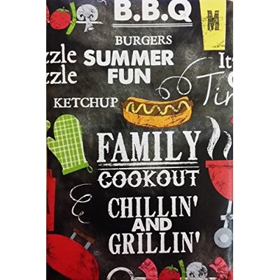 """Summer Fun Chillin ' and Grillin ' Cookout BBQビニールフランネルBackテーブルクロス 52"""" x 70"""" Oblong COMINHKPR118116"""