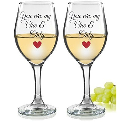(2) - Love Wine Glasses - You Are My One and Only - Standard Clear Wine Glass - Wedding Gift -Set...