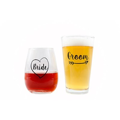 Cute Wedding Gifts - Bride and Groom Novelty Wine Glass & Beer Glass Combo - Engagement Gift for...