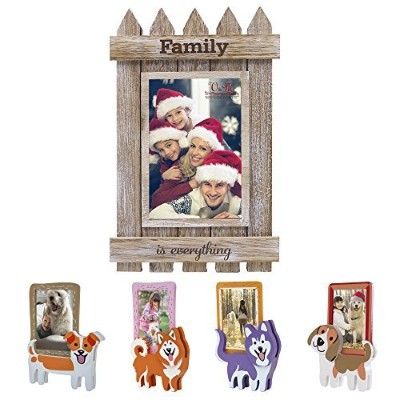 (4x6, Family) - Valery Madelyn Xmas Family Gathering Picture Frame 4x6 Rustic Distressed Wood...