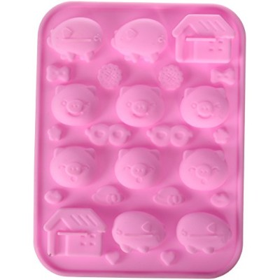 (Pigs) - Longzang Cute Animals Silicone mould Cake/Chocolate moulds Baking mould (Pigs)