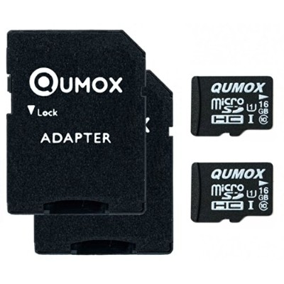 2pcs Pack QUMOX 16GB MICRO SD MEMORY CARD CLASS 10 UHS-I 16 GB HighSpeed Write Speed 12MB/S read...