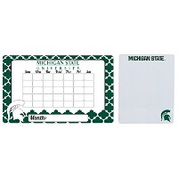 """Michigan State Spartans 9"""" x 15"""" Dry Erase Calendar Peel and Stick and 8"""" x 10""""磁気ドライ消去ボード"""