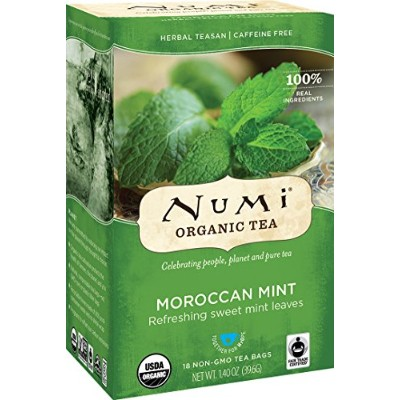 Numi Organic Tea Moroccan Mint, Full Leaf Herbal Teasan, Caffeine Free, 18 Count Tea Bags (Pack of...