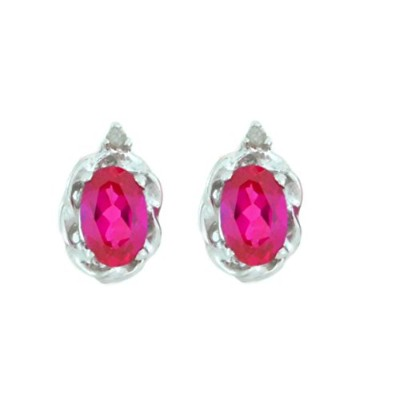 1 Ct Created Ruby & Diamond Oval Stud Earrings .925 Sterling Silver Rhodium Finish