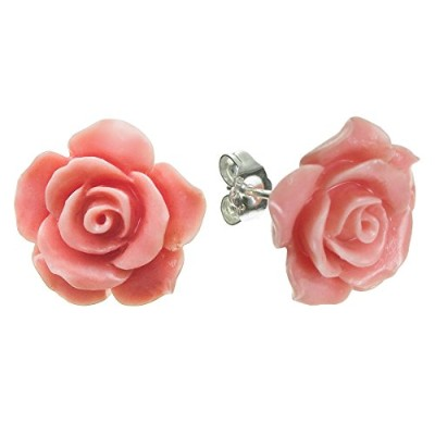 (Pink) - Sterling Silver Simulated Coral Rose Earrings Stud Post 15mm