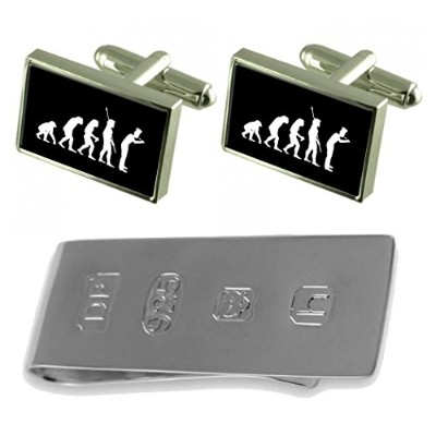 Evolution Ape To Man Chef Cufflinks & James Bondお金クリップ