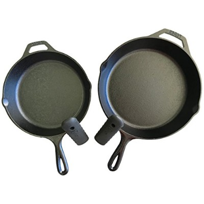 Lodge Seasoned Cast Iron Cookware Set 2 Piece Skillet Set and 2 Holders ブラック