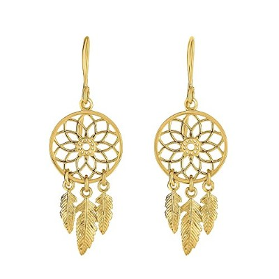 14ktイエローゴールド1x 11x 32mmドロップDream Catcher Earring with euro-wire