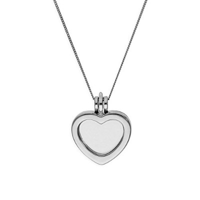 (16+2 Inches) - Small Sterling Silver Heart Floating Charm Locket on Chain 16-60cm