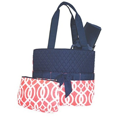 Quilted Diaper Bag with Changing Pad andアクセサリーケース – 3ピース L オレンジ BIQ2121CORAL