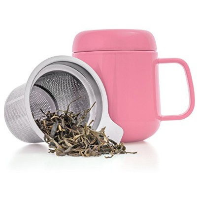 (Pink) - Tealyra - Sumo Ceramic Pink Tea Cup Infuser - 400ml - Small Mug with Lid and Stainless...