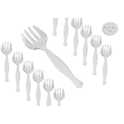 使い捨てプラスチッククリアServing Forks,セットof 12 Large Sturdy Serving Forks Utensils – Perfect forや結婚式、Buffets...