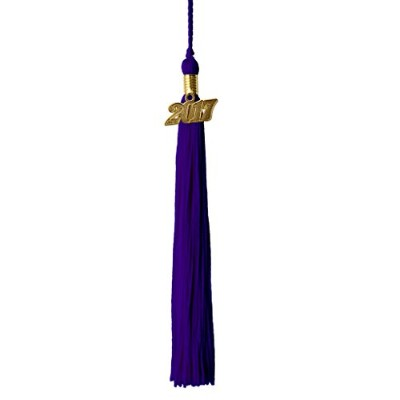 (Purple) - Graduation Tassel With 2016 Gold Year Charm And 2017 Silver Year Charm Grad Days(Purple)
