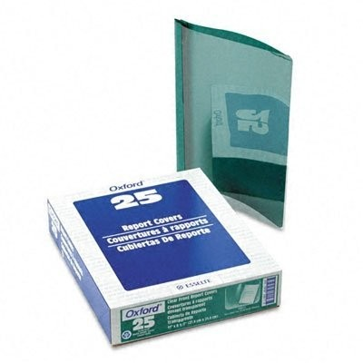 """Coated Paper Report Cover, Tang Clip, Letter, 1/2"""" Capacity, Clear/Green, 25/Box (並行輸入品)"""