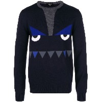 Fendi printed monster face sweater - ブルー