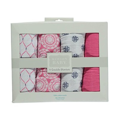 Hudson Baby Swaddle Blankets - pink, one size by Hudson Baby
