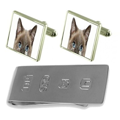 Peeking Cat Face Cufflinks & James Bondお金クリップ