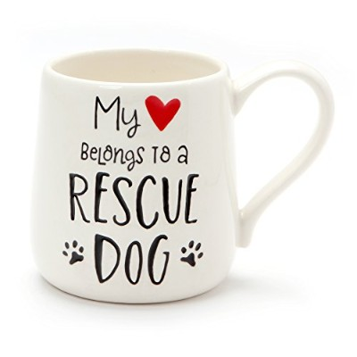 Enesco 6001228 Our Name Is Mud Rescue Dog Engraved Stoneware Mug、16オンス、ホワイト