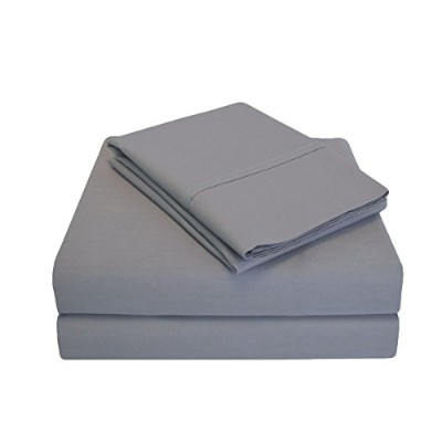 (Twin XL, Grey) - Impressions Percale 300 Thread Count 100% Cotton, Deep Pocket, 3-Piece Twin X...