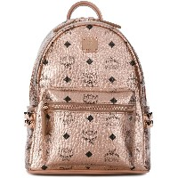 MCM logo print metallic backpack - ピンク&パープル