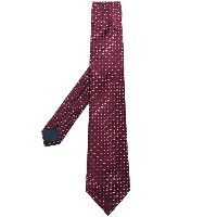 Lanvin pattern embroidered tie - レッド