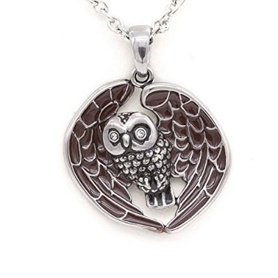 """Controseレディースsilver-tonedステンレススチールStarry Eyed Owlネックレスwith Swarovski Crystals 17""""–19""""調節可能なチェーン"""