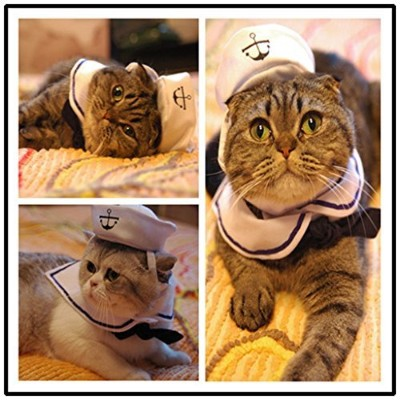 Kailian Sailor Adjustable Costume Hat & Navy for Cat Small Dog Puppy Cosplay(2pcs,Sailor)