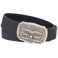 (リーバイス メンズベルト) Levis Mens Bridle Leather Belt with Antiqued Logo Plaque Buckle Black