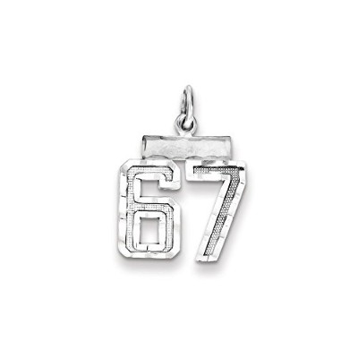Beautiful Sterling silver 925 sterling Sterling Silver Rhodium-plated Small #67 Charm comes with a...