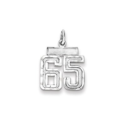 Beautiful Sterling silver 925 sterling Sterling Silver Rhodium-plated Small #65 Charm comes with a...
