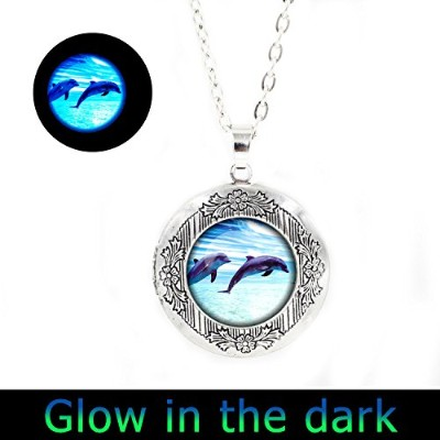 glowlala ® Glowing Dolphinロケットペンダントドルフィンロケットネックレスグローin theダークDolphin GlowingロケットジュエリーNatureロケットネックレス