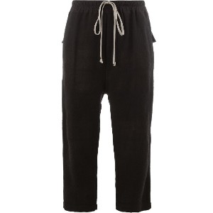 Rick Owens cropped drawstring waist trousers - ブラック