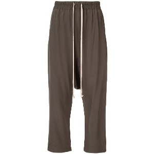 Rick Owens drop crotch cropped trousers - グレー