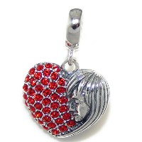 Proジュエリー925Solid Sterling Silver Dangling Heart With Halfレッドクリスタルと女性の半分の顔チャームビーズ