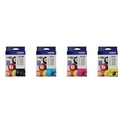 Genuine Brother LC201 (LC-201) Color (Bk/C/M/Y) Ink Cartridge (Includes 1 each LC201BK, LC201C, LC201M, LC201Y by Brother