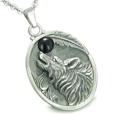 Amulet Howling Wolf Simulatedブラックオニキスムーンペンダント22インチネックレス