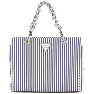 【SALE 50%OFF】ゲス GUESS SAWYER STRIPED SMALL GIRLFRIEND SATCHEL (BLUE STRIPE) レディース