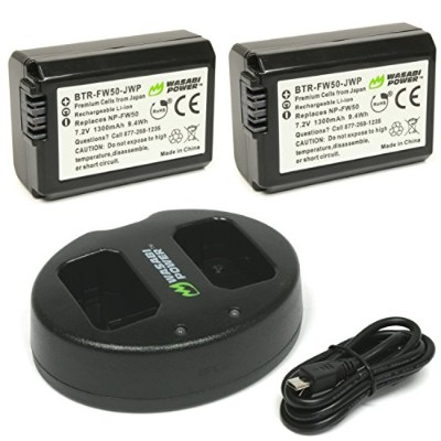 Wasabi Power Battery ( 2- Pack )とデュアル充電器for Sony np-fw50(と互換性Alpha a7、a7II、a7r、、a7s、a7r II a7s...