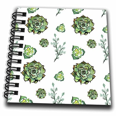 3dローズAnne Marie Baugh – パターン – Pretty水彩グリーン多肉植物パターン – Drawing Book 4x4 notepad db_263512_3