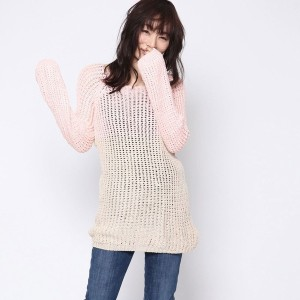 【SALE 69%OFF】ルーミィーズ  Roomy's OUTLET Big編みニットチュニック (ピンク)