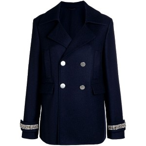 Ermanno Scervino cuff detail double breasted coat - ブルー