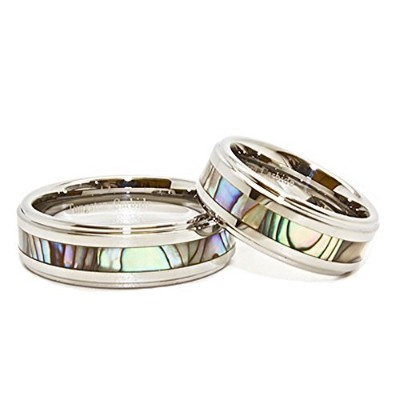 Matching 8mmタングステンカーバイド結婚リングwith Abalone Shell Inlay ( See Listingのサイズ