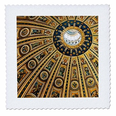3drose Danita Delimont – Churches – Vatican City、イタリア、天井のドーム、ST PETERS Basilica – キルト正方形 20x20 inch...