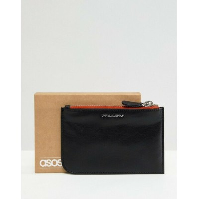 エイソス メンズ 財布 アクセサリー ASOS DESIGN leather zip top wallet in black with contrast orange trim Black