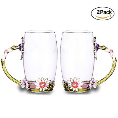 tiang-large Personalized -15ounce-菊Glass Mug with Handleのセット2 Long