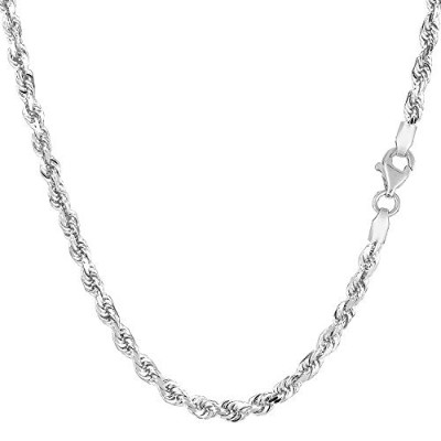 """10K White Gold Hollow Rope Chain Necklace, 2mm, 24"""""""