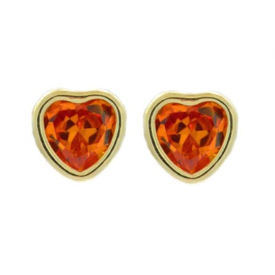 14Kt Yellow Gold Simulated Citrine Heart Bezel Stud Earrings